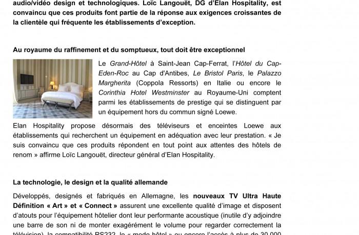 Communiqué de presse : LOEWE & ELAN HOSPITALITY du 23/01/2015 1/2